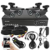 Best Vision Systems 8 Channel AHD DVR Security System with 4 720P AHD IR Outdoor Bullet Cameras, 1TB HDD Included and Remote Surveillance (Black)
