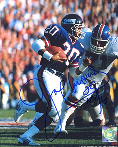 Joe Morris (Super Bowl XXI) Autographed/Original Signed Color 8x10 Action-photo w/the New York Giants - He Added His Number 20 -COA