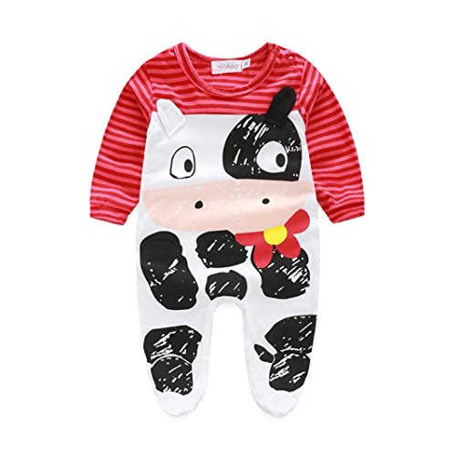 Baby Clothes, Egmy Cute 1Set Newborn Infant Baby Boys Girls Romper+Hat Jumpsuit Bodysuit Clothes Outfit (6-12M, Red)