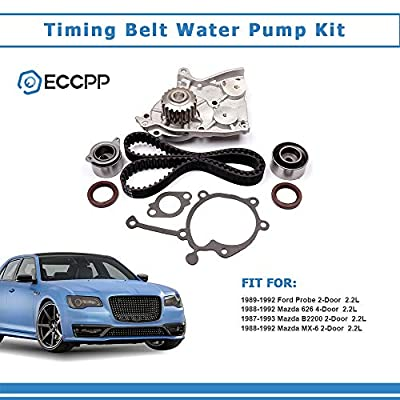 Timing Belt Water Pump Tensioner Kit, ECCPP for 1987-1993 Ford Probe Mazda 626 B2200 MX-6 12V 2.2L SOHC Eng Code F2G F2L F2-T: Automotive