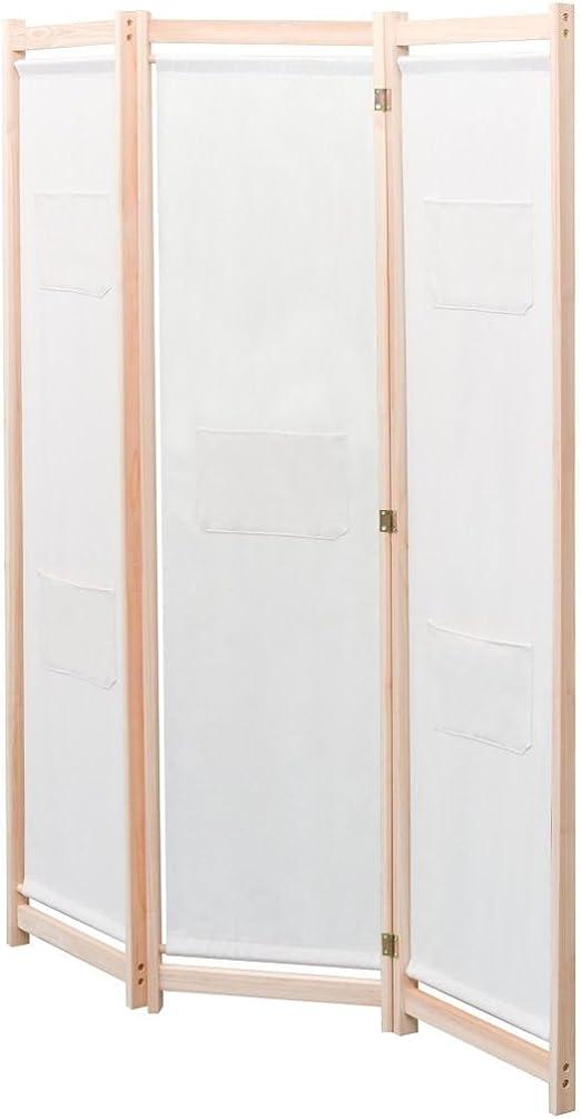 SOULONG Biombo Separador de 4 Paneles, Decoración Elegante, Separador de Ambientes Plegable, Divisor de Habitaciones,Biombo Divisor de 3 Paneles de Tela cremqa 120x170x4 cm: Amazon.es: Hogar