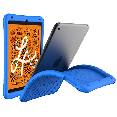 Bear Motion Silicon Case for iPad Mini 5 2019 - Anti Slip Shockproof Light Weight Kids Friendly Protective Case for (iPad Mini 5/4, Blue)