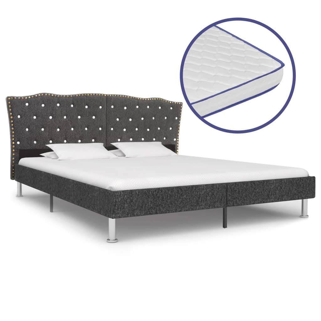 vidaXL Bett mit Memory-Schaum-Matratze Polsterbett Stoffbett Doppelbett Schlafzimmerbett Bettgestell Bettrahmen Lattenrost Dunkelgrau Stoff 180x200cm