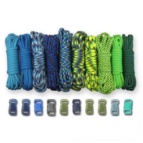 PARACORD PLANET 550lb Type III Paracord Combo Crafting Kits with Buckles (COASTAL)
