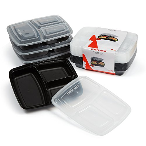 ChefLand Upgraded 3 Compartment Container Bento