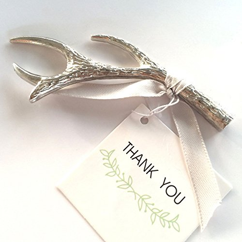 Pack of 100 Silver Antler Bottle Opener, Wedding Favors by KateMelon by KateMelon