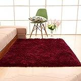 WAN SAN QIAN- Ultra Soft Children Rugs Room Mat Modern Shaggy Area Rugs Home Decor Rectangular Long Hair Carpet Rug ( Color : Wine red , Size : 120x160cm )
