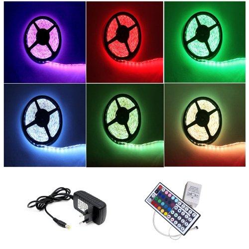 Nicht wasserdichter 2M RGB 5050 SMD LED Streifen Strip Band, 60LEDs pro Meter, Schutzklasse:IP20, inklusive 44 Key Ferbedienung und DC12V Kontroller Netzteil Trafo Set