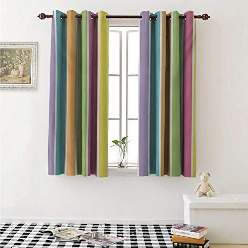 shenglv Colorful Blackout Draperies for Bedroom Pastel Colored Striped Summer Pattern Funky Cheerful Rainbow Inspired Traditional Curtains Kitchen Valance W72 x L63 Inch Multicolor (Funky Gazebo)