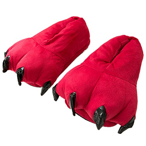 MiziHome Unisex Soft Paw Claw Home Slippers Animal Costume Shoes Red L