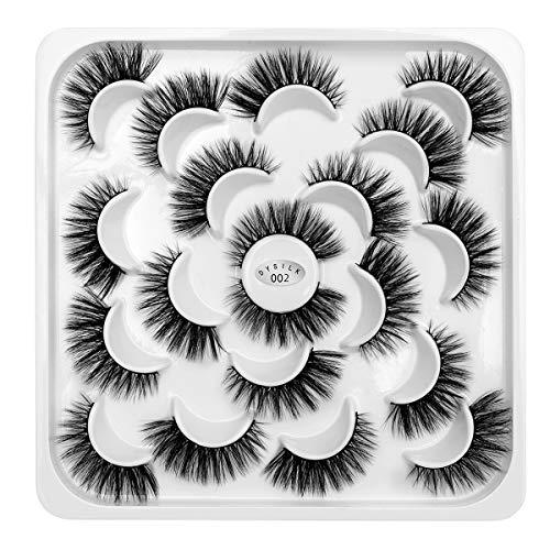 DYSILK 10 Pairs 3D Mink Eyelashes Dramatic Look False Eyelashes Fluffy Fake Eyelashes Wispy Natural Eyelashes Makeup Long Handmade Soft Thick Lashes Reusable ()