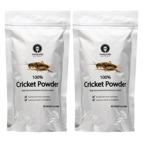 70g Powder (Cricket Powder 2-pack (100% Cricket; .44 lb; 70g protein per cup) by Thailand Unique)