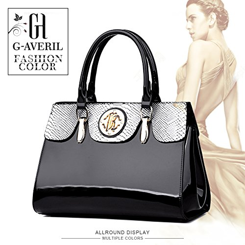 AVERIL Crossbody Black Handbag Purse Black Women Leather Satche G Bag New Messenger handle Top Patent Shoulder Rw6xddYq