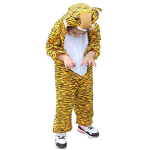 Tiger Jumpsuit Costumes (Children Party Costume Cartoon Animal Costume funny Clothes Performance Kids Cosplay Costume (XL(Height 47.2