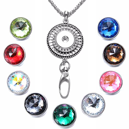 Soleebee 34.3 inches Office Lanyard Snap Button Jewelry ID Badge Holder Necklace Bonus 9pcs Facets Crystal Glass Snap Buttons (Rhinestone Hollow)
