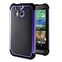 Htc One M8 Case Otter Hybrid Dual Layer [Screen Protector clear With Stylus Pen] Cover for Htc One M8 2014 Edition - (Purple)