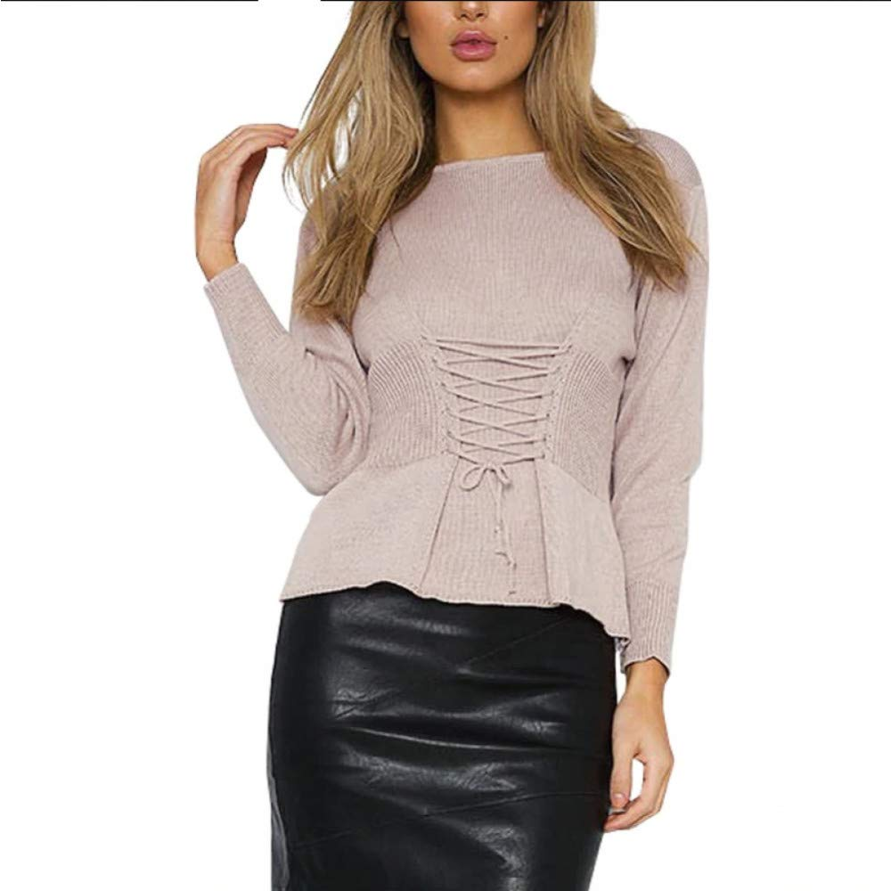 FUHENGMY Pullover Pullover Pullover Waistband Schnüren Sich Gestrickte Strickjackefrauen Jersey Rundhalsausschnitt Beiläufige Strickende Strickjacke Winterstrickjacke-Pulloverfrau 4fae6e