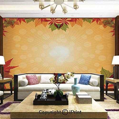 Lionpapa_mural Artistic Background Removable Wall Mural Self-Adhesive,Striped Dotted Background and Vibrant Maple Aspen Oak Leaves Seasonal Nature Decorative,Home Decor - 66x96 -