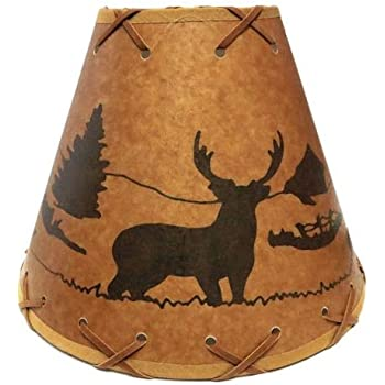 Urbanest 1100504 chandelier lamp shades 6 inch hardback faux rustic 9 laced lamp shades with deer scene clips onto light bulb aloadofball Gallery