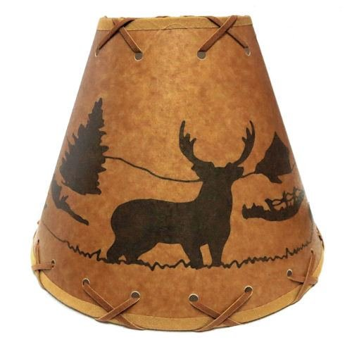 "Rustic 9"" laced lamp shades with deer scene- clips onto ligh"
