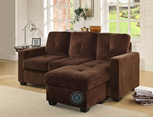 Phelps Sofa Chaise In Coffee Microfiber by Homelegance
