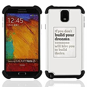 For Samsung Galaxy Note3 N9000 N9008V N9009 - dreams you inspiring poster grey inspiring Dual Layer caso de Shell HUELGA Impacto pata de cabra con im????genes gr????ficas Steam - Funny Shop -