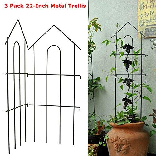 Garden Climber Shelf,3 Pack 22-Inch Iron Metal Garden Plant Vegetable Trellis Frame Cage Vine Support for Climbing Plants Flower Vegetable