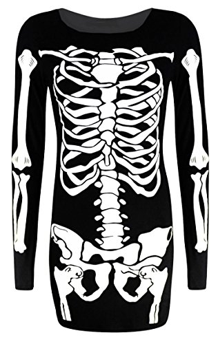 [Forever Womens Long Sleeves Skeleton Print Halloween Bodycon Dress] (Halloween 10)