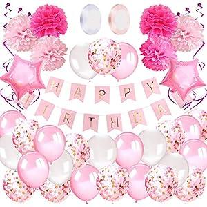 AivaToba Decoration Anniversaire Fille 1 an, Deco Anniversaire Fille Kit avec Banderole Joyeux Anniversaire Ballons…