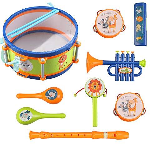 LBLA Toddler Musical Instrument Toys, Kids Drum Set, Percussion, Maraca, Tambourine, Flute, Harmonica, Trumpet, Rattle…