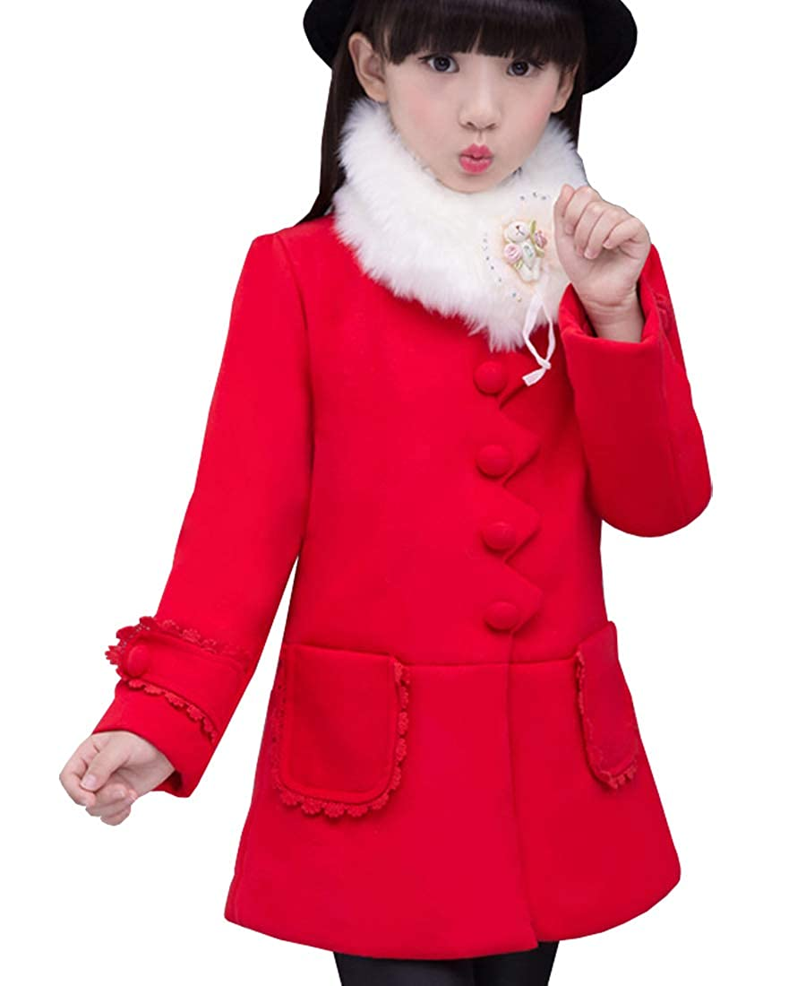 AnKoee Big Girls' Princess Outwear with Faux Fur Girl Winter Coat Jacket