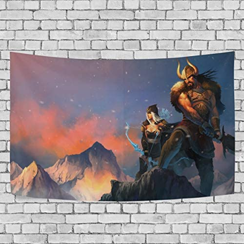 TRE ONE Ashe Tryndamere Art Tapestry Wall Hanging Decoration for Apartment Home Art Wall Tapestry for Bedroom Living Room Dorm Fashion 90 x 60 inches