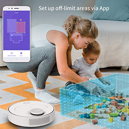 360 Robot Vacuum and Mop Cleaner, Works with Alexa, Intelligent Cleaning with 1800Pa Super Power Suction, Laser Navigating, Multi-Map Management, Up to 110Min for Pet Hair, Carpet and Hard Floor