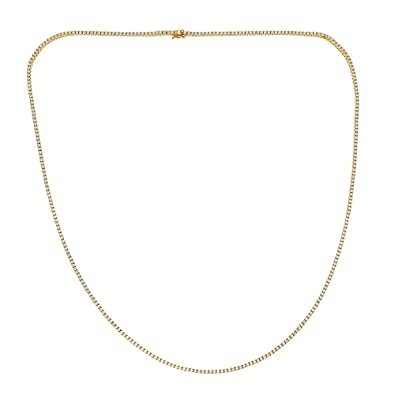 OMG Jewelry 925 Sterling Silver Gold Tone Hip Hop Tennis Chain Necklace 2b057ada1e