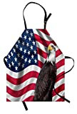 Ambesonne Eagle Apron, American Flag with a Bald Eagle USA Theme Image Print Old Glory Background and Bird, Unisex Kitchen Bib with Adjustable Neck for Cooking Gardening, Adult Size, Red Brown