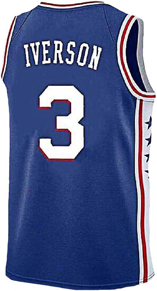 Mens Iverson Jersey Philadelphia 3 Basketball Jersey Allen Adult Sports Jerseys Blue S-XXL
