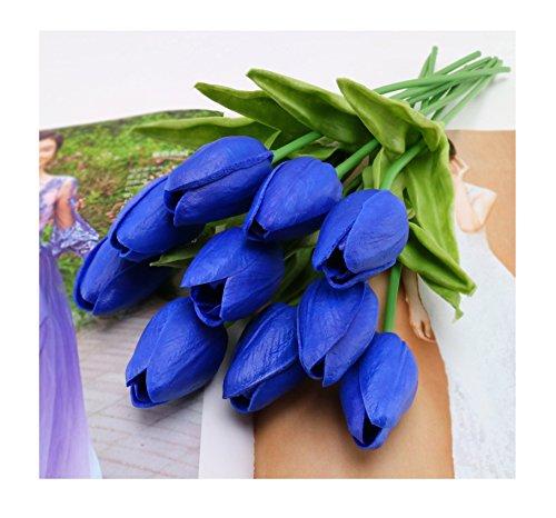 (tutu.vivi Artificial Flowers Real Touch Tulips PU Tulips Flowers Arrangement Bouquet Wedding Bouquets Wedding Decor Hotel Party Event Christmas Decor set of 10)