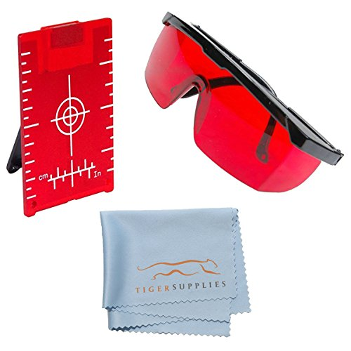 - AdirPro Red Brite Laser Enhancement Kit, Includes: Red Laser Glasses for Distance Meters, Line Lasers and Rotary Lasers - Red Magnetic Floor Target Plate with Stand - Tiger Supplies Cleaning Cloth
