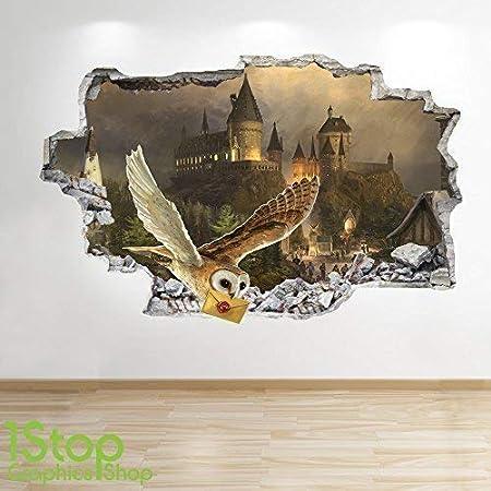 1Stop Graphics Shop Harry Potter Adesivo da Parete 3D Look Camera da Letto Bambini Hogwarts da Parete Decalcomania Z616 Small: 50 cm x 79 cm