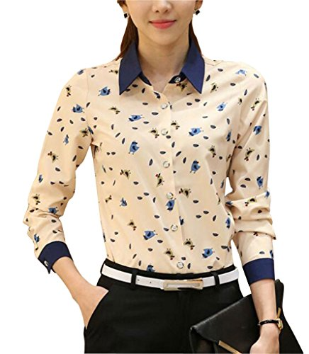 Double Plus Open DPO Women's Collared Long Sleeve Shirt Printed Blouse Cute Chick 10