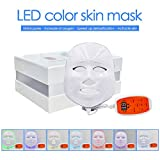 3D Phototherapy Color LED Mask Instrument Cold Light LED electronic Mask Instrument Professional Beauty Rejuvenation Instrument Therapy Facial Skin Care Mask Device (7 Colors, White)