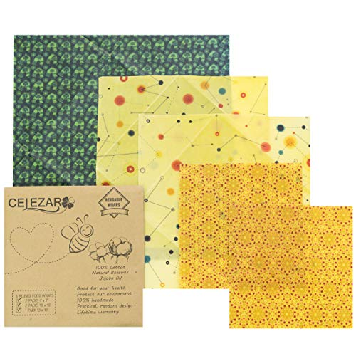 (5 pack) Beeswax Wrap - Reusable Food Wrap Handmade, Natural Eco Friendly, Reusale,Sustainable & Washable, Plastic Free & Biodegradable - 1 Large, 2 Medium, 2 Small (Life Color)