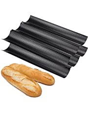 Fasmov 2 Pack French Bread Baking Pan Nonstick Perforated Baguette Pan 3 Wave Loaves Loaf Bake Mold Toast Cooking Bakers Molding, Black