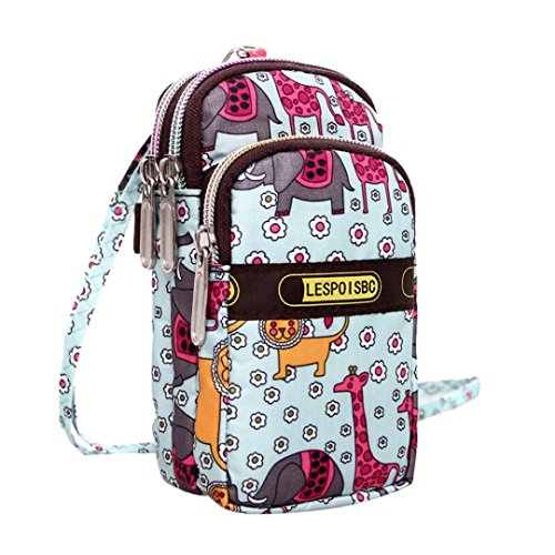 Hot Women Colorful Pattern Printing Zipper Sport Mini Wrist Purse Bag (D)