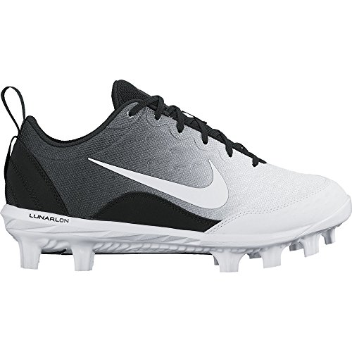 NIKE Women's Hyperdiamond 2 Pro MCS Softball Cleat Black/White/Wolf Grey Size 9 M (Lightweight Softball Cleats)