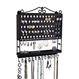 Jewelry Organizer Hanging Earring Holder Wall Mount Necklace Rack Bracelet Closet Storage, Black