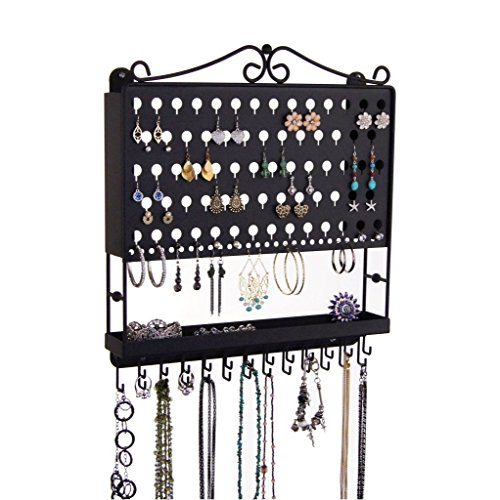 Jewelry Organizer Hanging Earring Holder Wall Mount Necklace Rack Bracelet Closet Storage, Black by Angelynn's Jewelry Organizers