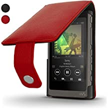 iGadgitz Red Leather Flip Case Cover for Sony Walkman NW-A35 NW-A40 MP3 Player with Magnetic Closure + Screen Protector