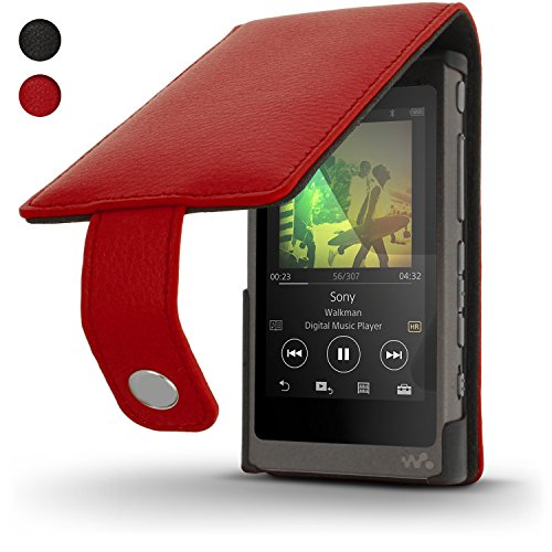 iGadgitz U6341 Red Leather Flip Case Cover for Sony Walkman NW-A35 NW-A40 NW-A45 MP3 Player with Magnetic Closure + Screen Protector