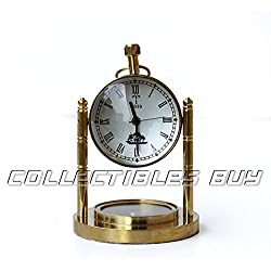 Table Decorative Marine Desk Clock Brass Finish Handmade Authentic Functional Clock